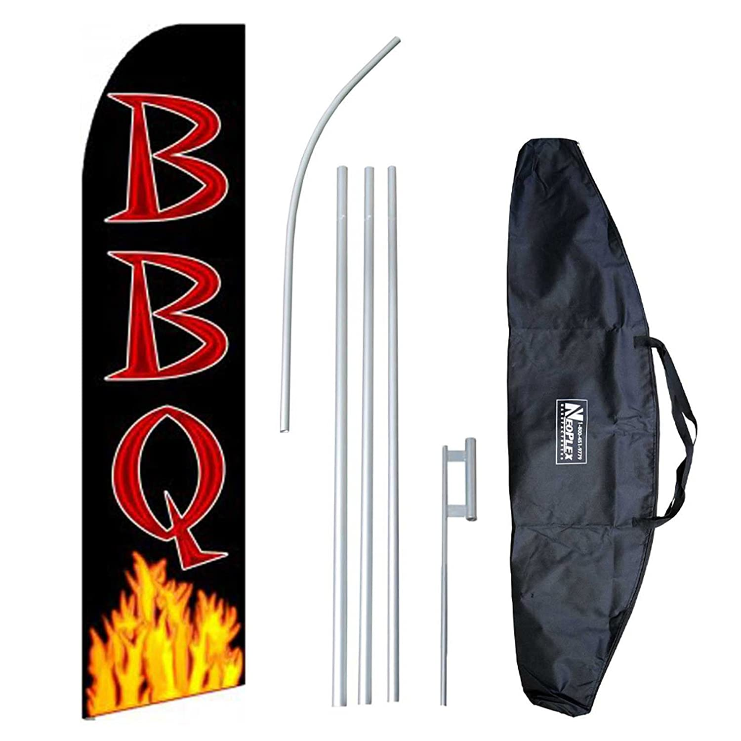 """BBQ (Extra Wide)"" 12-foot Swooper Feather Flag and Case Complete Set...includes 12-foot Flag, 15-foot Pole, Ground Spike, and Carrying/Storage Case"