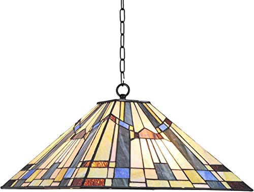 Capulina Tiffany Dining Table Lights, 16 Inch Wide Hanging Tiffany Style Lamp, 2-Light Stained Glass Lighting Fixtures, Stained Glass Dining Room Lights, Beautiful Mission Style Tiffany Pendant Lights