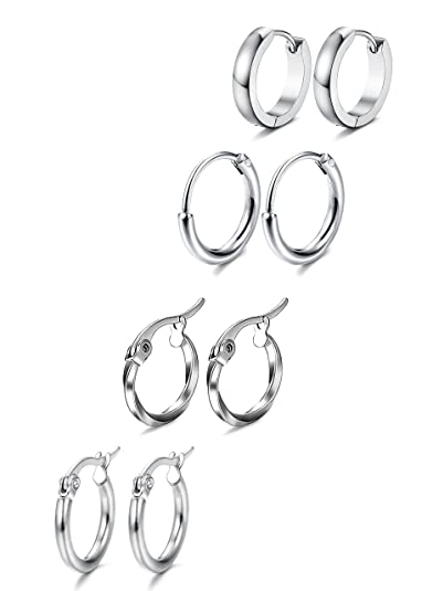 a084cc4c66088 Jstyle 4 Pairs Stainless Steel Hoop Earrings for Women Mens Huggie Earrings  Ear Piercing Earring Set