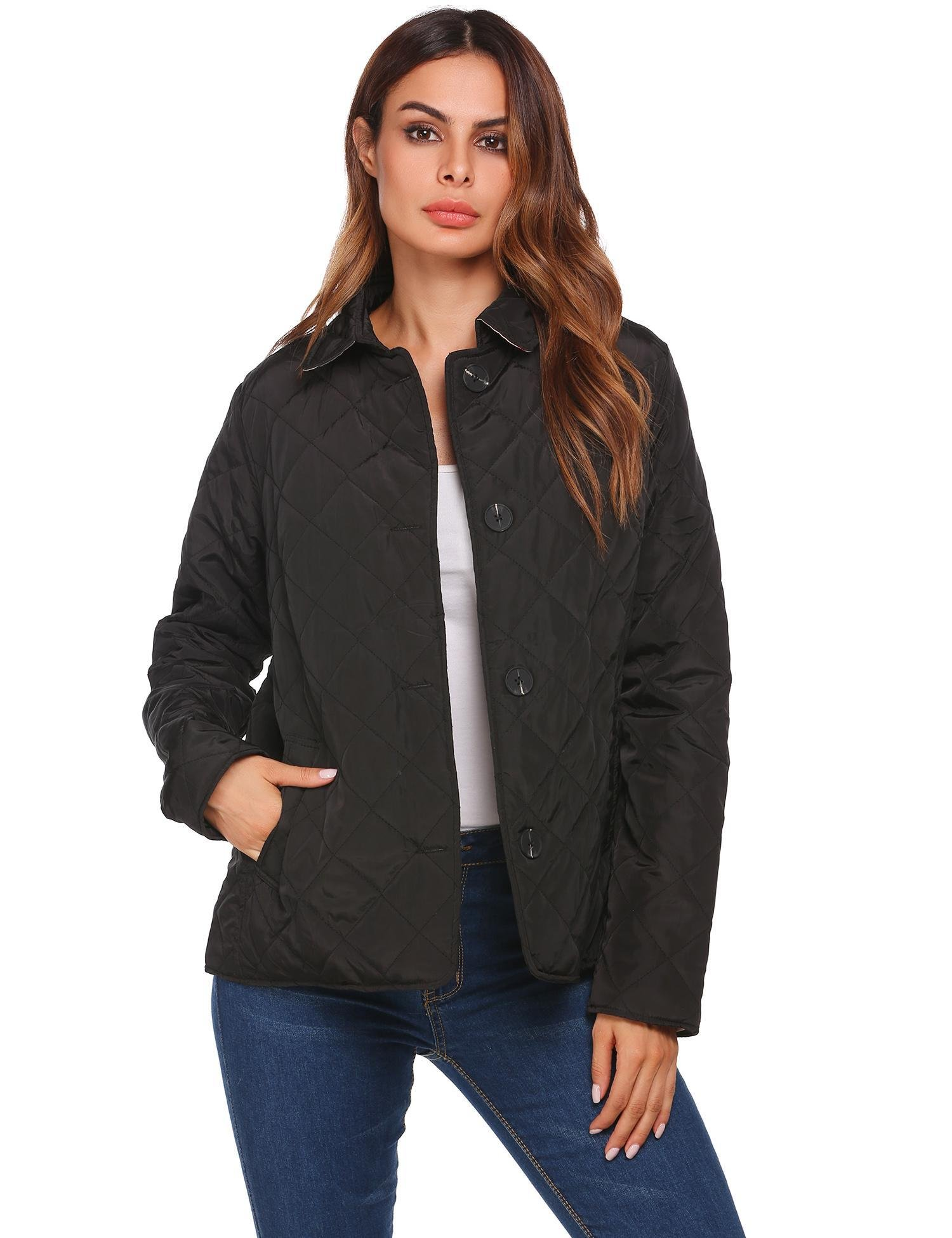 Soteer Women's Diamond Quilted Jacket Stand Collar Button End with Pocket Coat Black XXL