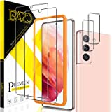[2+2 Pack] BAZO Tempered Glass Screen Protector and Camera Lens Protector Compatible for Samsung galaxy S21 5G(6.2 inch)[Easy
