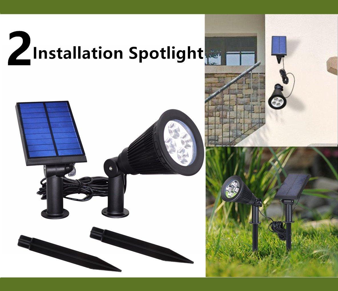 HowFine [Pack of 2] Multi-function Solar Energy Light Solar Outdoor Indoor Spotlight 2 in 1 Installation Waterproof Separated Panel and Light Landscape Lighting