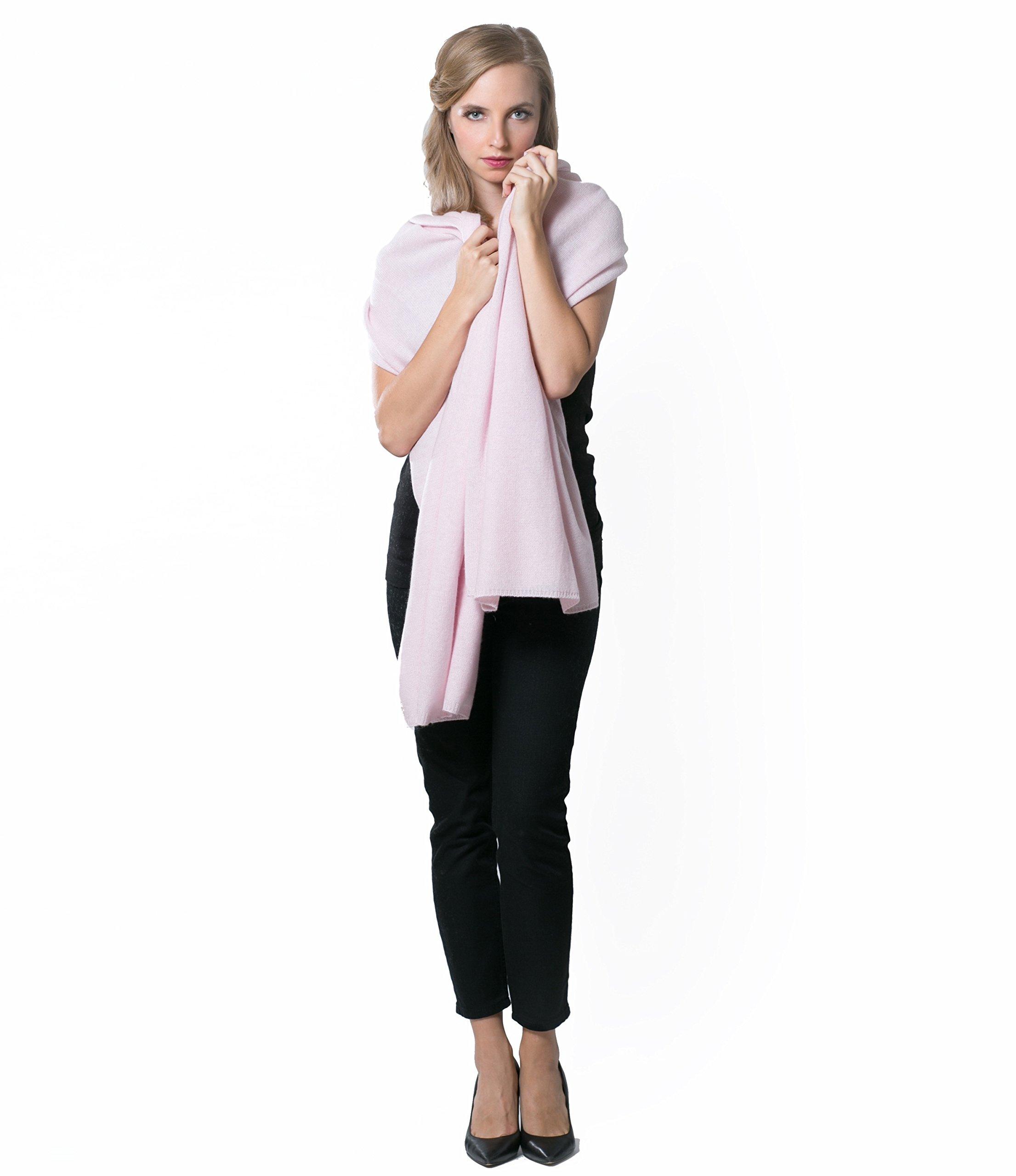 Super Soft Oversized 100% Cashmere Travel Blanket Scarf Wrap - Soft Pink by Anna Kristine