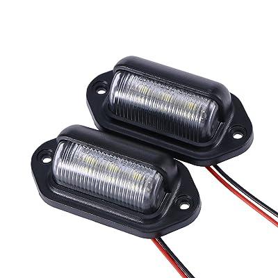 WINOMO 2Pcs Car LED License Plate Tag Light Convenience Courtesy Door Step Lamp: Automotive