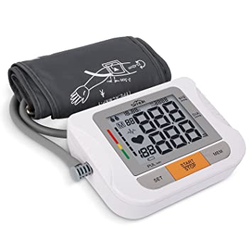 Tensiómetro para la parte superior del brazo, de SIMBR, para uso doméstico con manguito grande, medidor esfigmomanómetro eléctrico digital ...