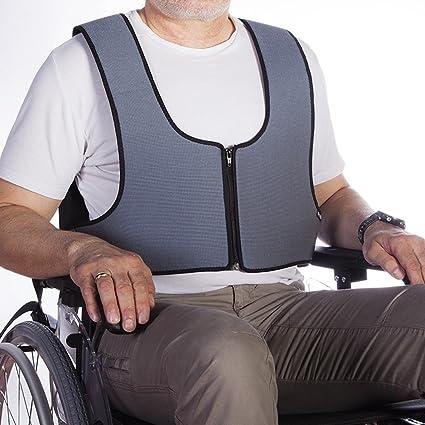 Mobiclinic Arnés Chaleco de sujeción con Cremallera Tipo Peto | para Silla de Ruedas, sillas