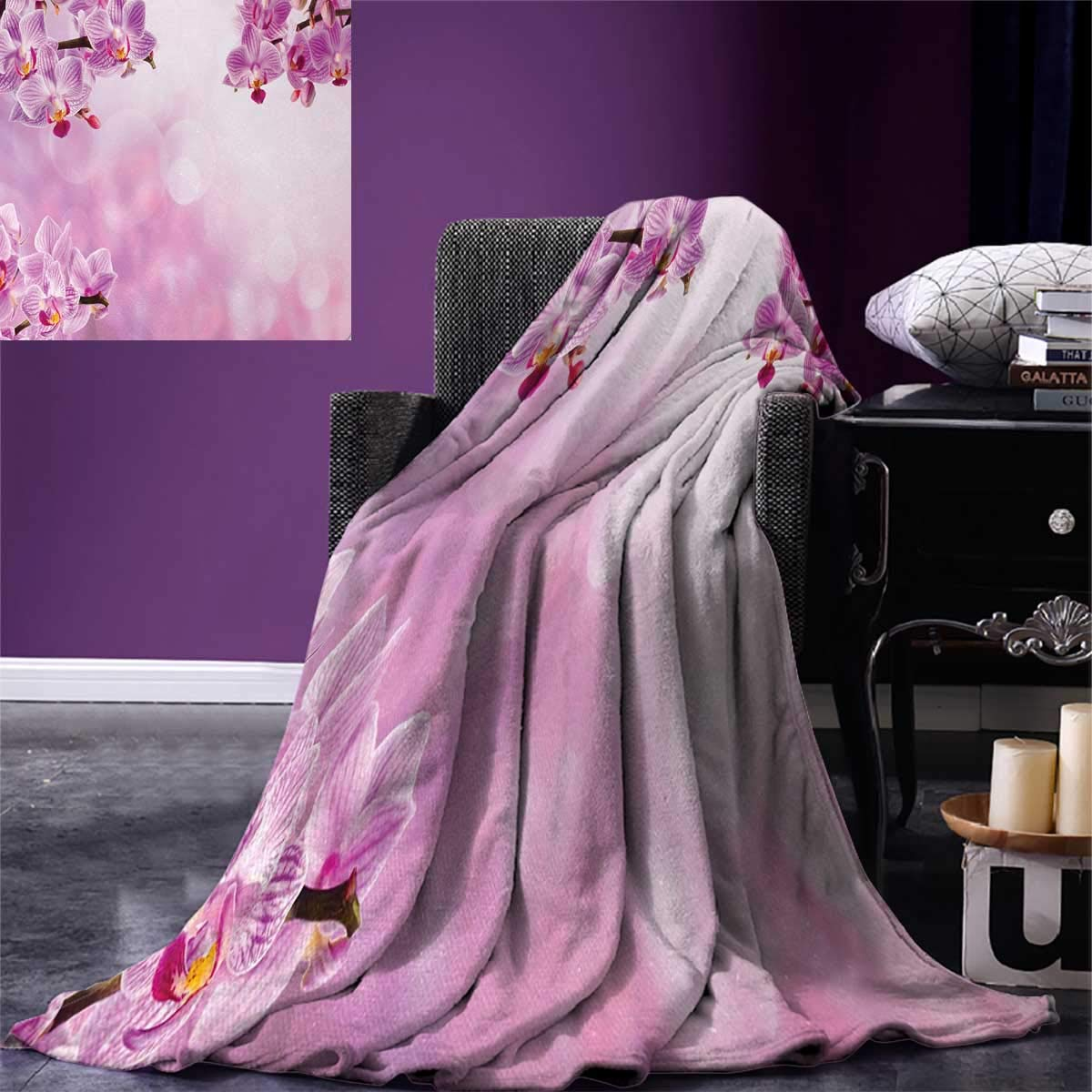 Spa Digital Printing Blanket Orchid Petals in Monochrome Design Bouquet Spring Bloom Seedling Growth Peaceful Nature Print Summer Quilt Comforter 80''x60'' Pink