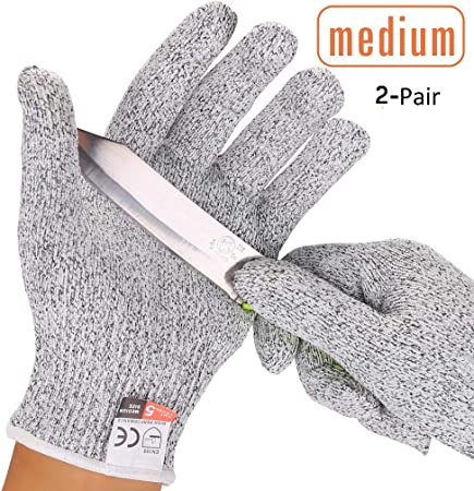 2 Pairs Cut Resistant Gloves Level 5 Protection Food Grade, Chainmail Gloves