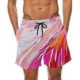 LORVIES Mens Drawing Flamingo Beach Board Shorts Quick Dry Swim Trunk