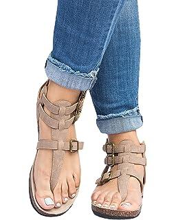 40a4435acea2 Pxmoda Women s Fashion Flip Flop Gladiator Sandals Strappy Flat Sandal Shoes