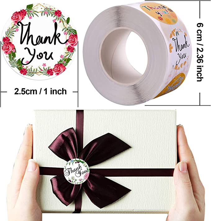 500 Pcs per Roll BQTQ 3000 Pieces Thank You Stickers in 48 Designs 1 Inch Thank You Stickers Roll Round Business Lable Supplies for Business Packaging Thank You Cards Party Bags Wedding