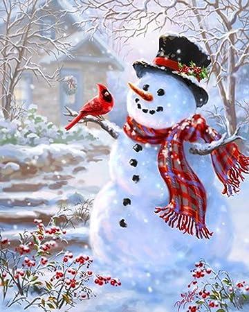 DIY 5D Diamond Painting Christmas Snowman Cross Embroidery Stitch Art Home Decor