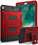 iPad Pro 10.5 Case,SKYLMW iPad Pro 10.5 Inch 2017 Case [Heavy Duty] Three Layer Hybrid Shockproof Full-Body Protective Case Cover With Kickstand for Apple iPad Pro 10.5 Inch 2017 Model, Red