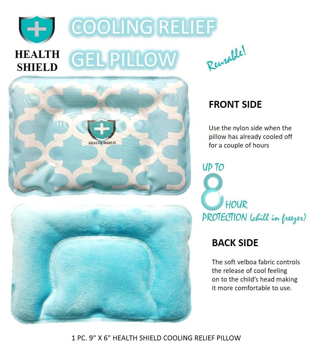 Health Shield Cooling Relief Pillow, Cold compress, For kids or babies, Ice pack, Reusable, Comfortable, Cold Therapy