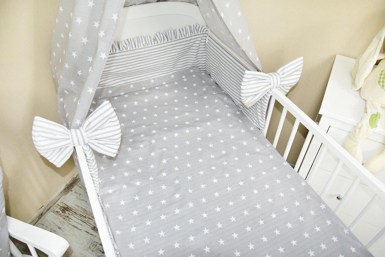 Amilian/® Bettset mit Nestchen Kinderbettw/äsche Himmel 100x135cm NEU Vollstoffhimmel Sternchen Grau 5 tlg