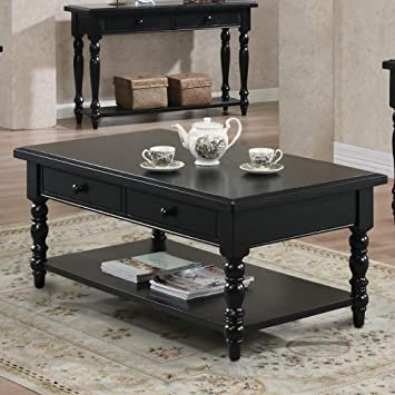 Quails Run Coffee Table In Ebony Finish