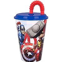 LOS VENGADORES   Vaso Reutilizable con Tapa y Pajita para niños  Vaso infantil de plástico - 430 ml- sin BPA