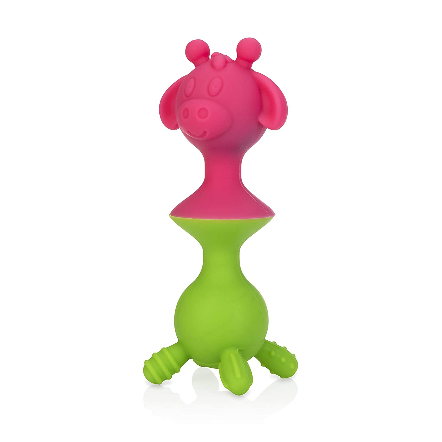 Nuby Silly Giraffe Interactive Suction Toys with Built-in Rattle Yellow//Aqua 2Piece