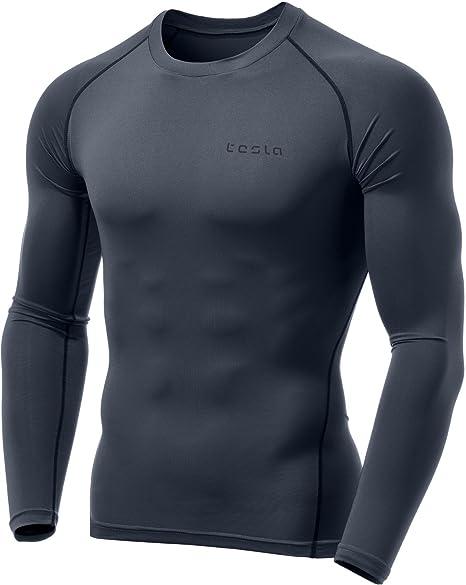 Tesla Men/'s Long Sleeve T-Shirt Baselayer Cool Dry Compression Top 40 Colors