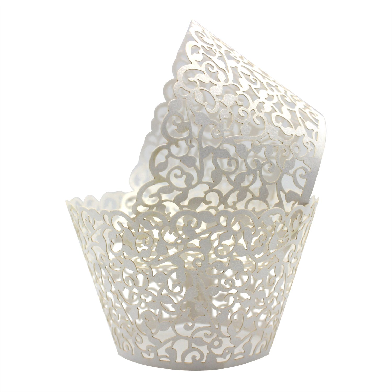 KEIVA Pack of 100 Vine Cupcake Holders Filigree Artistic Bake Cake Paper Cups Vine Designed Decor Wrapper Wraps Cupcake Muffin Paper Holders for Wedding Party Birthday Decoration (100, White)