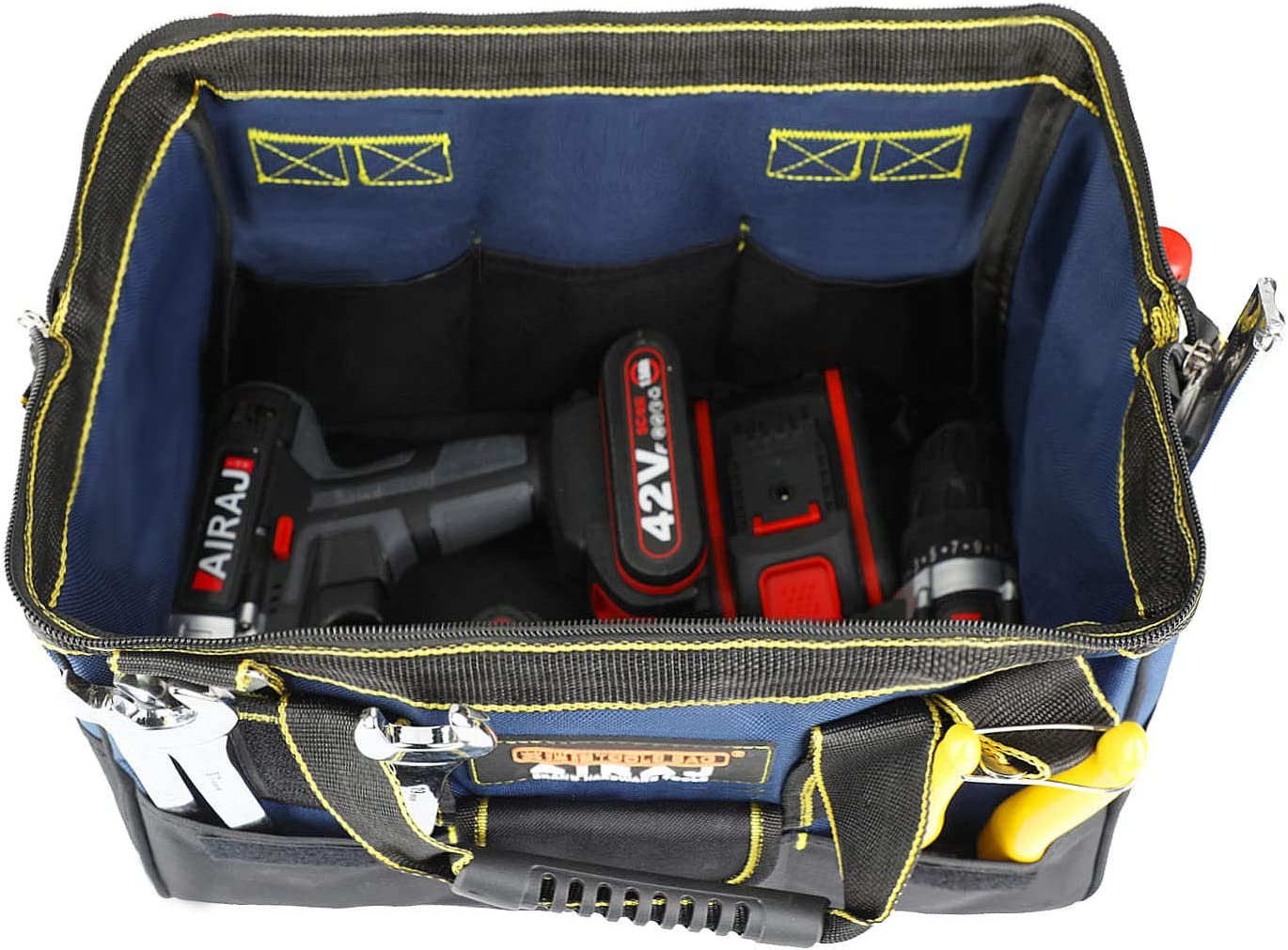 AIRAJ 18 in Tool Bag Wide Mouth Storage Tool Organizer with Adjustable Shoulder Strap Zip-Top Opened Large Capacity Tool Case for Men,Gift MINI Parts Box
