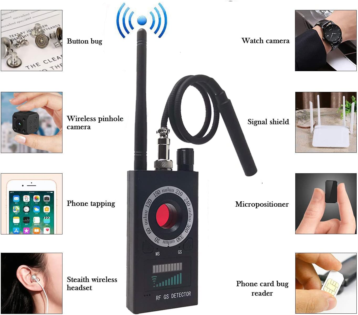 Military-Top Version Anti Spy RF Detector Hidden Camera Detector Bug GPS Wireless Signal Alarm Scanner Detection Device