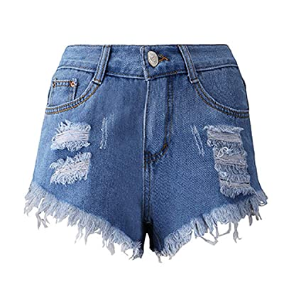 2019 Summer Denim Short Jeans Women Sexy High Waist Hole Ripped Shorts Fashion Casual Slim Plus Size Denim Shorts Lady Hotpants: Ropa y accesorios