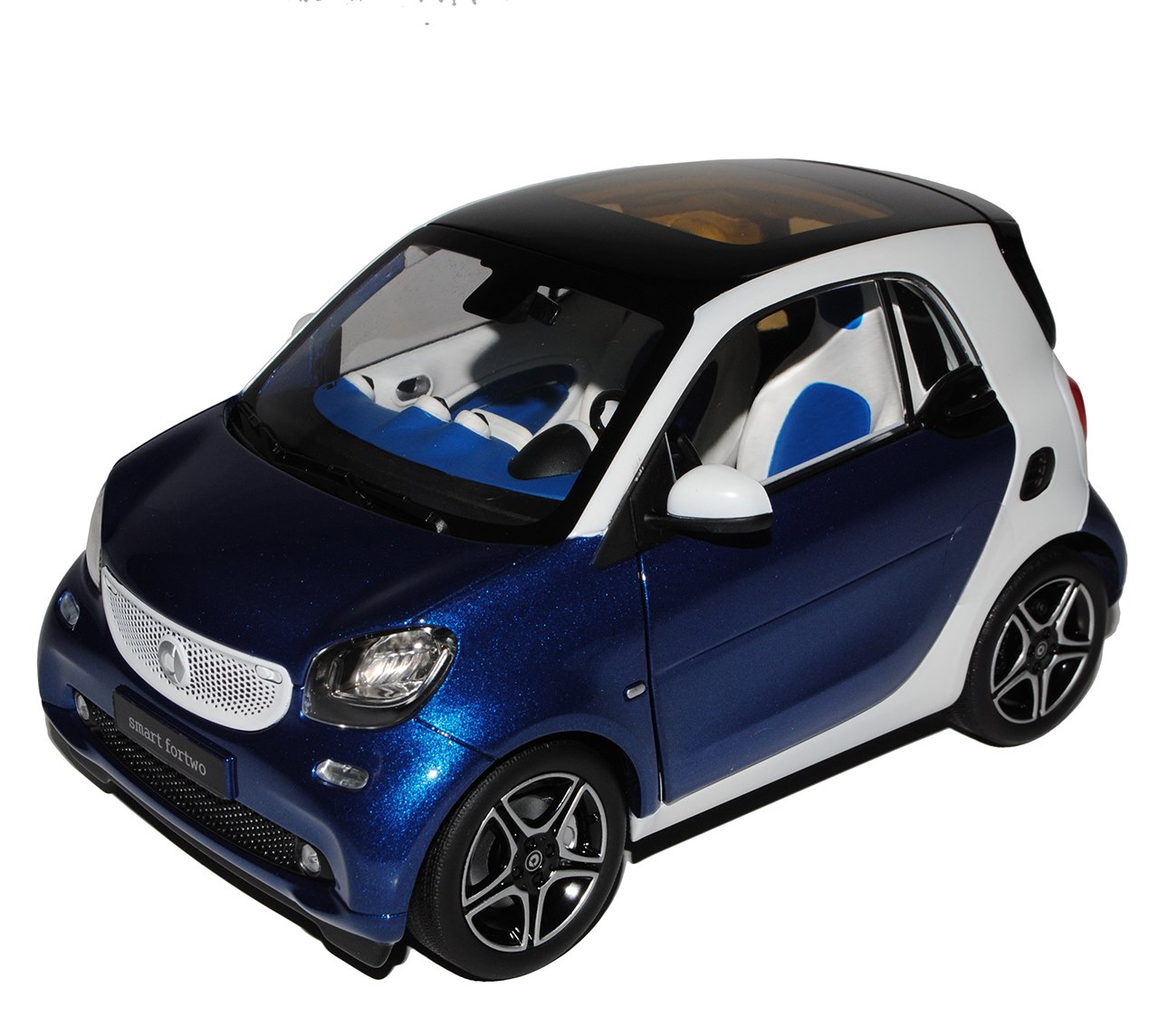 Norev Smart ForTwo Coupe C453 Blau mit Weiss Ab 2014 1/18 Modell Auto