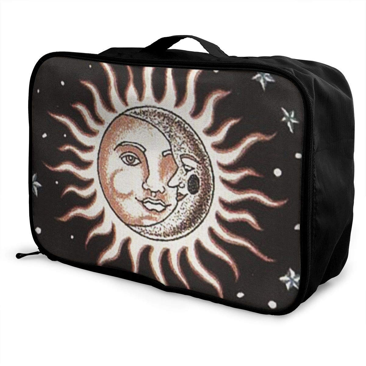 Portable Luggage Duffel Bag Sun and Moon Travel Bags Carry-on in Trolley Handle JTRVW Luggage Bags for Travel