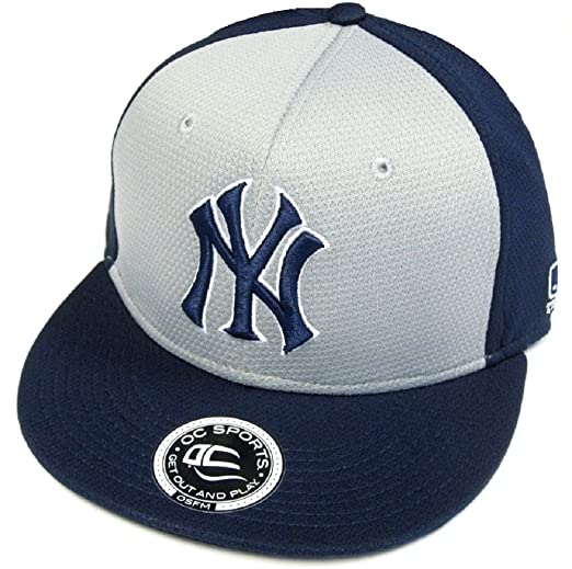 OC Sports York Yankees MLB Q3 Flat Hat Cap Navy Gray Two Tone NY ... f5b6acd26d5