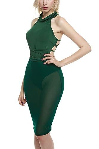 Zeagoo Women's Sexy Halter Neck Sheer Mesh Backless Bodysuit Dress Clubwear