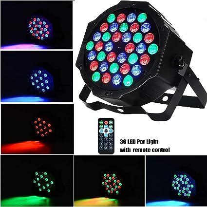 AONCO Luz de Escenario Par LED Luz de Discoteca, 36W 36LED RGB ...