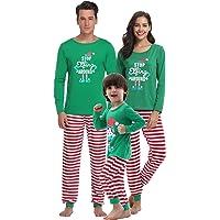 Aibrou Pigiama Famiglia Natale Set, Pigiama Natalizio Famiglia per Neonato Bambino papà Mamma, Pigiami Famiglia Coordinati Manica Lunga e Reticolo Pantaloni