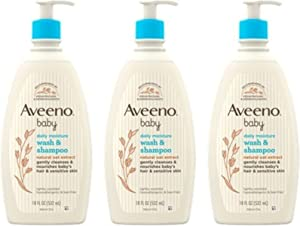 Aveeno Baby Gentle Body Wash & Shampoo with Natural Oat Extract, Tear-Free, Paraben-Free & Phthalate-Free Formula for Baby's Sensitive Hair & Body, Lightly Scented, 3 x 18 fl. oz (Amazon Exclusive)