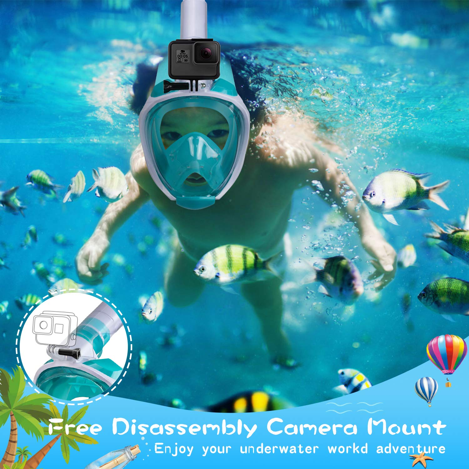 Dry Top Set Anti-Fog Anti-Leak Snorkeling Mask with Detachable Camera Mount OUSPT Full Face Snorkel Mask Panoramic 180/° View Upgraded Dive Mask with Safety Breathing System