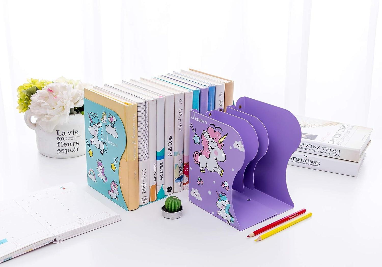 Bule Unicorn Adjustable Retractable Office Bookend Book Holder Desktop Organizer Storage Bookcase Desk Bookshelf for Student /&Children Supports 3-Section Vertical Compartment Christmas Gift