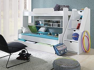 Wunderbar Furnistad Etagenbett Luna | Kinder Stockbett Mit Treppe Und Bettkasten  (Weiß)