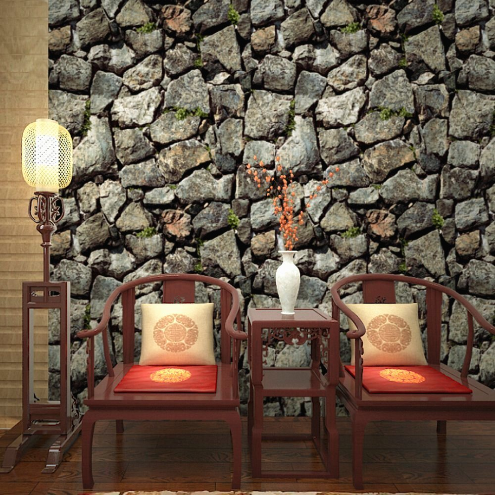 Blooming Wall 3d Faux Stone Brick Wall Mural Wallpaper for Bathroom Kitchen Livingroom Bedroom,Large Size,57 Square ft/roll (866002)