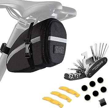 ZOSEN - Bolsa para sillín de bicicleta con kit de herramientas de reparación, impermeable, bolsa de almacenamiento de herramientas con juego de reparación mecánico multifuncional: Amazon.es: Deportes y aire libre