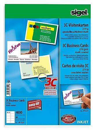 Sigel Ip521 Visitenkarten 3c 400 Stück 40 Blatt Hochweiß