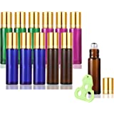 Olilia Glass Roll on Bottles with Metal Roller Balls - Essential Oils Key included 12 Pack of 10ml(1/3oz) (Mixed Color - Gold Lids)