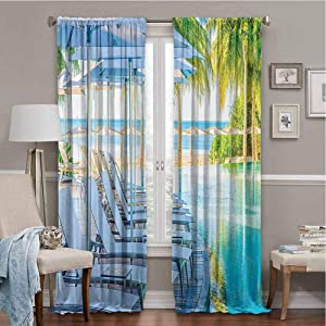 Sound Absorbing Curtains House Decor Collection Luxury Hotel Pool Near Beach Palm Trees Exotic Resort Umbrella Sunbed Chair Picture Green Aqua 84x63 Inch
