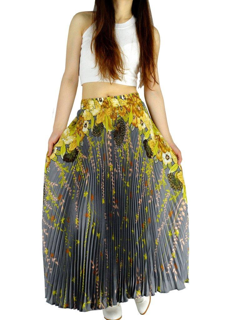 YSJ Womens Pleated Long Maxi Skirt - 35.4'' Chiffon Floral Vintage Bohemian Full Skirts 1548 by YSJERA