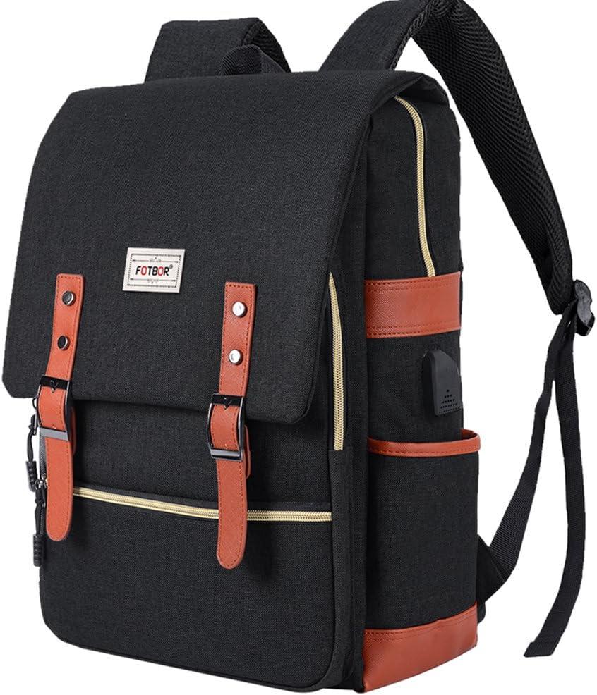 KAMII Travel Laptop Backpack - Unisex Professional Anti Theft Slim Business Laptop Backpack for Women Men,School College Rucksack Daypack Backpack with USB Charging Port (Waterproof Dustproof) (Black)
