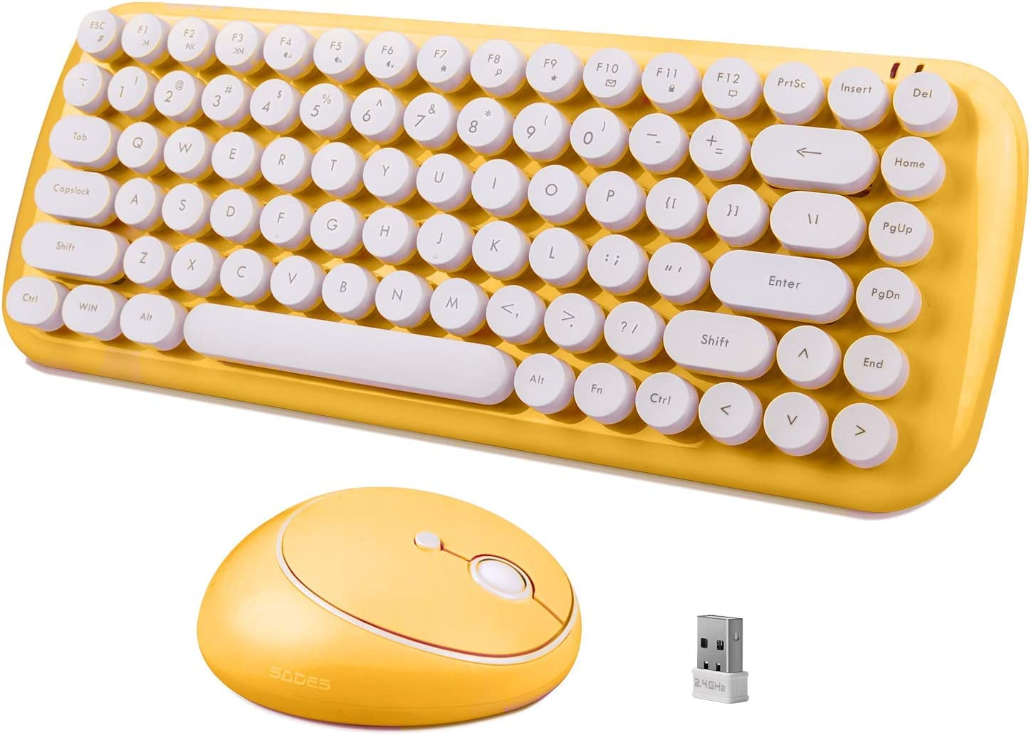 Wireless Keyboard Mouse Combo, 2.4GHz Office Home Mini Wireless Cute Gaming Keyboard Yellow with 84 Retro Keycaps, and Optical Wireless Gaming Mouse with 3 Adjustable DPI for Desktop Computer PC Mac