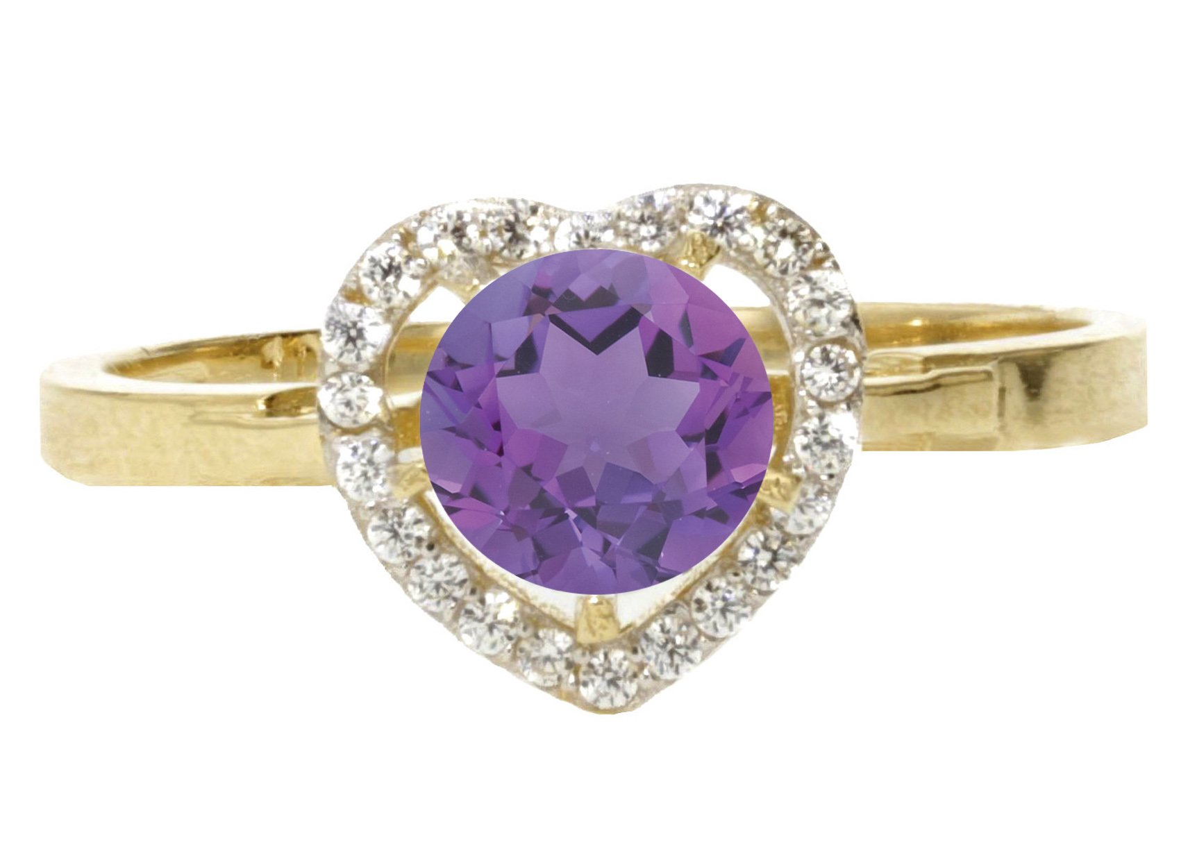 14k Yellow Gold Faceted Natural Genuine Purple Amethyst Round Solitaire Halo Heart Promise Ring Size 10.5