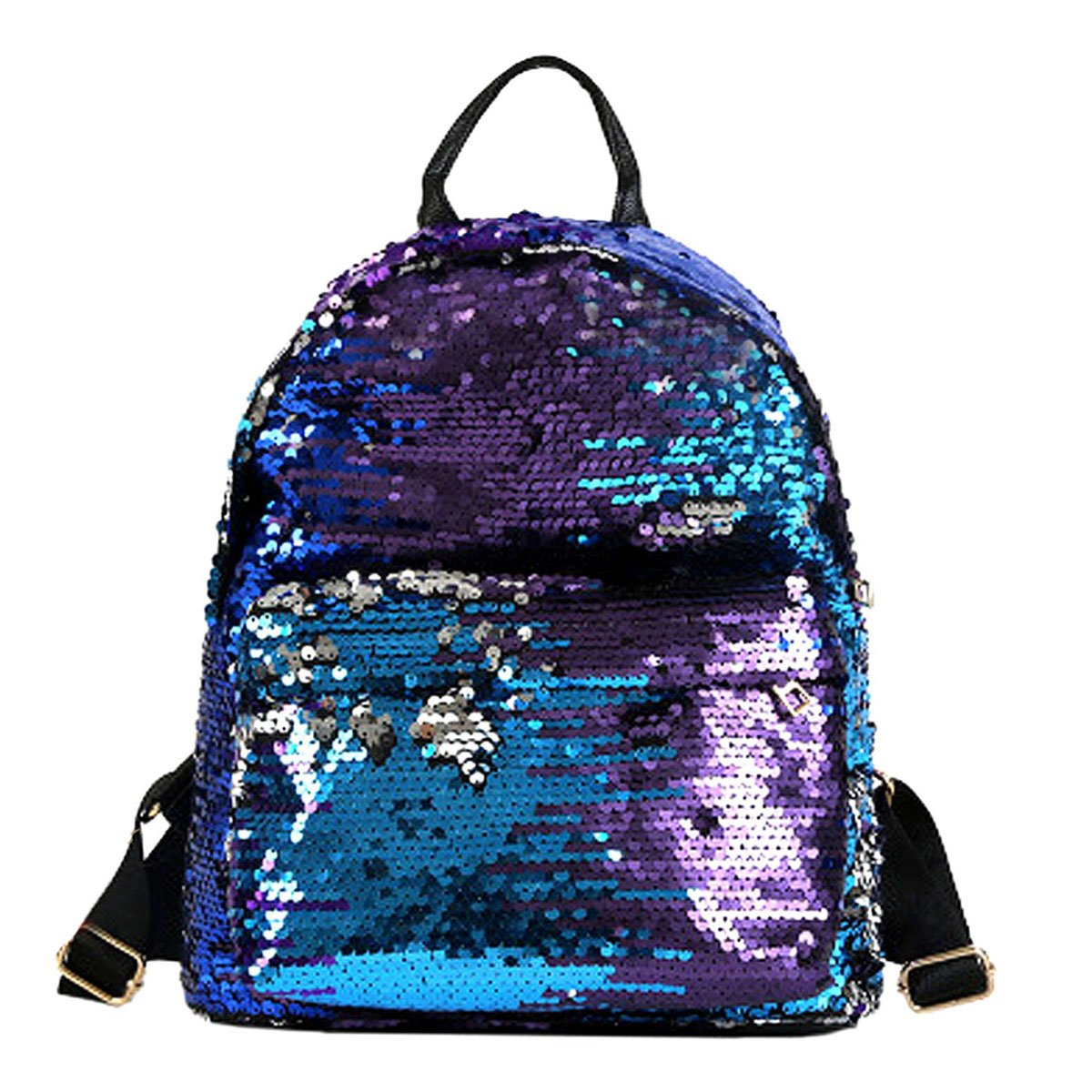 bluee ZLMBAGUS Girl Fashion Sequin Backpack Shiny School Travel Daypack Satchel