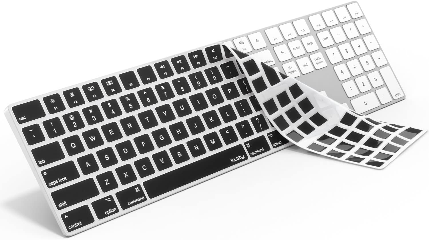 Kuzy - Black Keyboard Cover for Apple Magic Keyboard with Numeric Keypad Model: A1843 - Wireless Bluetooth (Newest Version) Skin Silicone for iMac - Black