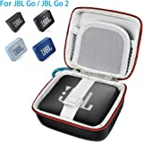 [Upgraded Version] JBL GO 2 Case, Pushingbest PU Carry Bag Case Cover for JBL Go 1/2 Bluetooth Speaker, Mesh Pocket for Charger and Cables[PU, Black]