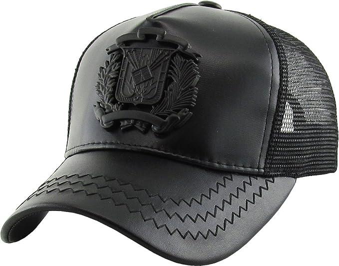 Dominican Republic Trucker Snapback Hat Black White Leather Gold badge Cap